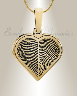 Gold Plated Two Fingerprint Heart Fingerprint Necklace