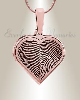 Rose Gold Plated Two Fingerprint Heart Fingerprint Necklace