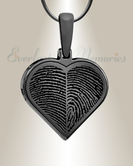 Black Plated Two Fingerprint Heart Fingerprint Necklace