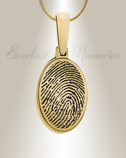 Gold Plated Oval Fingerprint Necklace