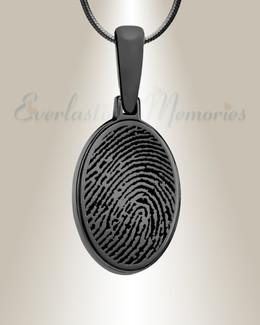 Oval Black Plated Fingerprint Necklace