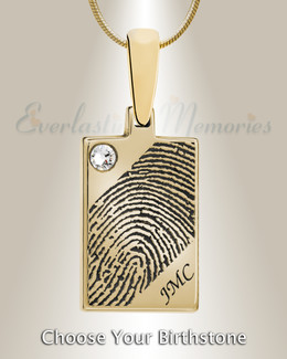 Birthstone Rectangle Gold Plated Fingerprint Necklace