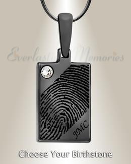 Black Plated Birthstone Rectangle Fingerprint Necklace