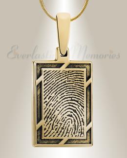 Gold Plated Framed Rectangle Fingerprint Necklace