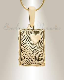 Gold Plated Loved Rectangle Fingerprint Necklace
