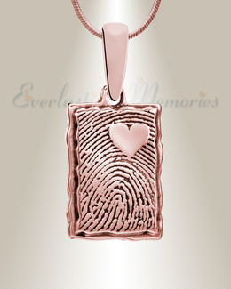 Rose Gold Plated Loved Rectangle Fingerprint Necklace