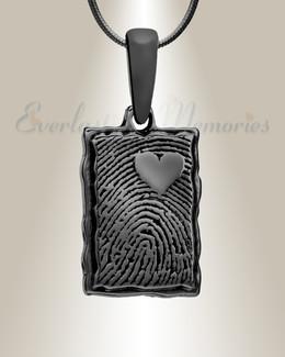 Black Plated Loved Rectangle Fingerprint Necklace