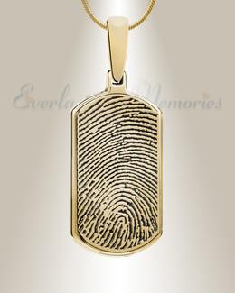 Dog Tag Gold Plated Fingerprint Necklace