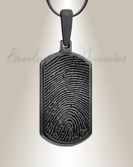 Dog Tag Black Plated Fingerprint Necklace