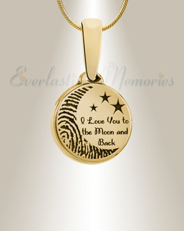 Love You To The Moon Gold Plated Fingerprint Necklace