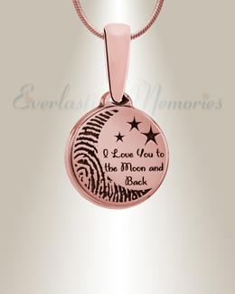 Love You To The Moon Rose Gold Plated Fingerprint Necklace