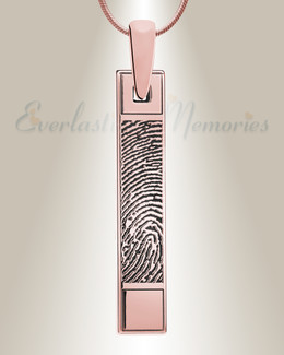 Barred Rose Gold Plated Fingerprint Necklace