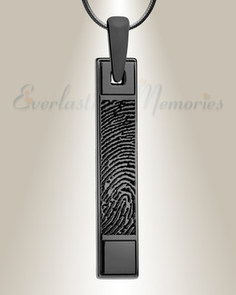 Barred Black Plated Fingerprint Necklace