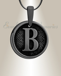Black Plated Monogram Round Fingerprint Necklace