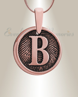 Rose Gold Plated Monogram Round Fingerprint Necklace