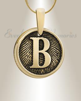 Gold Plated Monogram Round Fingerprint Necklace