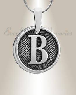 Sterling Silver Monogram Round Fingerprint Necklace