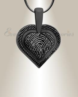 Classic Heart Black Plated Fingerprint Necklace