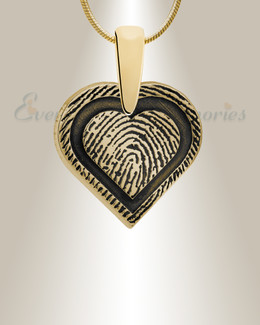 Gold Plated Classic Heart Fingerprint Necklace
