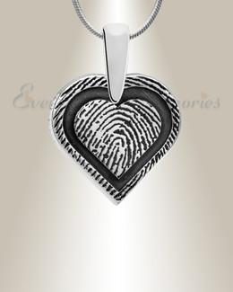 Sterling Silver Classic Heart Fingerprint Necklace