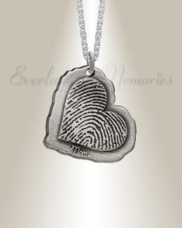 Sterling Silver Antique Heart Fingerprint Necklace