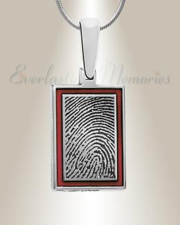 Silver Cardinal Framed Rectangle Fingerprint Necklace