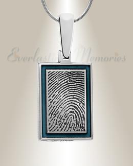 Sterling Silver Blue Sky Framed Rectangle Fingerprint Necklace