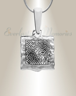 Sterling Silver Squared Fingerprint Necklace