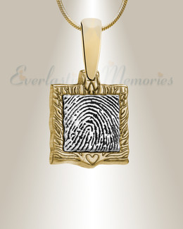 Squared Gold Frame Fingerprint Necklace