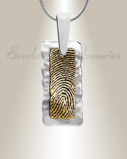 Silver Frame Rectangle Gold Fingerprint Necklace