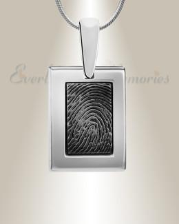 Black Square Silver Frame Fingerprint Necklace