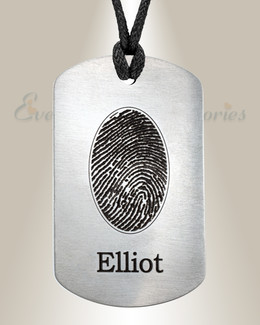 Steel Dog Tag Fingerprint Necklace
