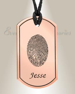 Modern Dog Tag Copper Fingerprint Necklace