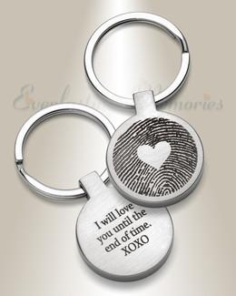 Hearts Round Fingerprint Keychain
