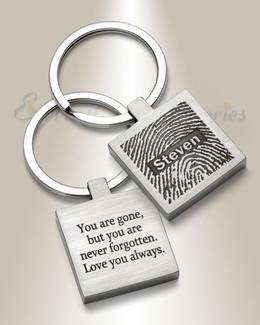 Steel Squared Fingerprint Keychain