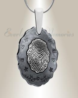 Black Framed Oval Fingerprint Necklace