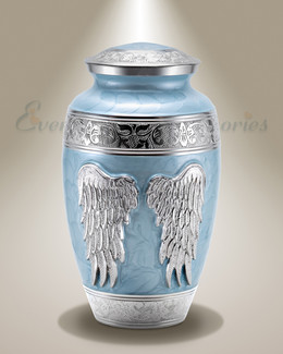 Blue Angel Wings Individual Cremation Urn