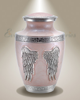 Pink Angel Wings Individual Cremation Urn