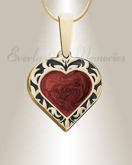 Gold Campfire Heart Ashes Into Jewelry