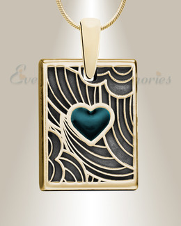 Gold Navy Heart Rectangular Ashes Into Jewelry