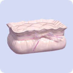 White Pillow and Ribbon Cremation Urn