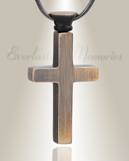 Forever Collection Antique Brass Remembrance Cross Locket Necklace