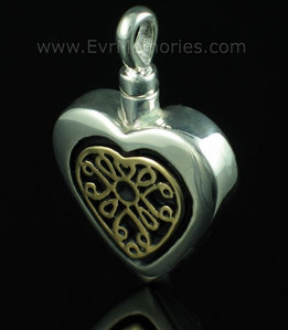 Sterling Silver Heart with 14K Gold Filigree Insert Urn Keepsake