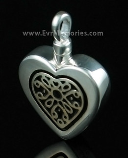 Sterling Heart with Sterling Silver Insert Cremation Keepsake