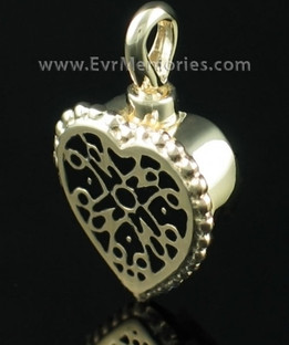 14K Gold Filigree Heart Urn Necklace