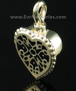 14K Gold Filigree Heart Urn Necklace