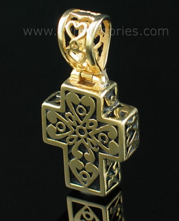 Gold Vermeil Filigree Cross Urn Necklace