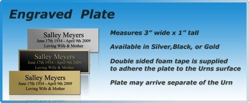 Plate engraved cremation urn