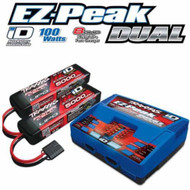 Traxxas 2990 EZ-Peak Dual Charger w/ Two 5000mAh 25C 3S iD LiPo Batteries XMAXX