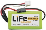Hobbico HCAM6411 LiFe 6.6V 1300mAh 1C Receiver Battery Pack w/ Uni Connector